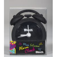 Btech mini szilikon ébresztőóra fekete színben