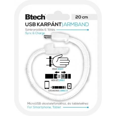 Btech Micro USB Textil Karkötő Fehér