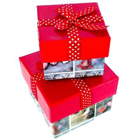 Karácsonyi masnis doboz szett 2 db-os
