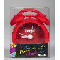 Btech mini szilikon ébresztőóra piros színben