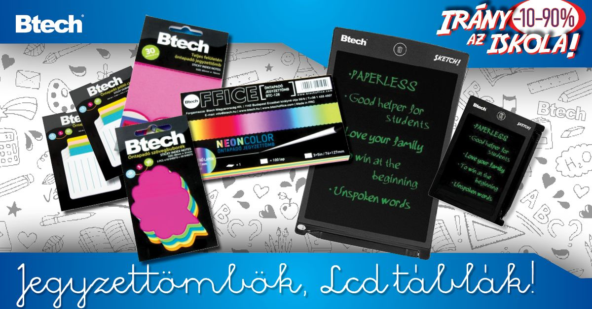 Iskolakezdési akciók - Jegyzettömbök, LCD táblák